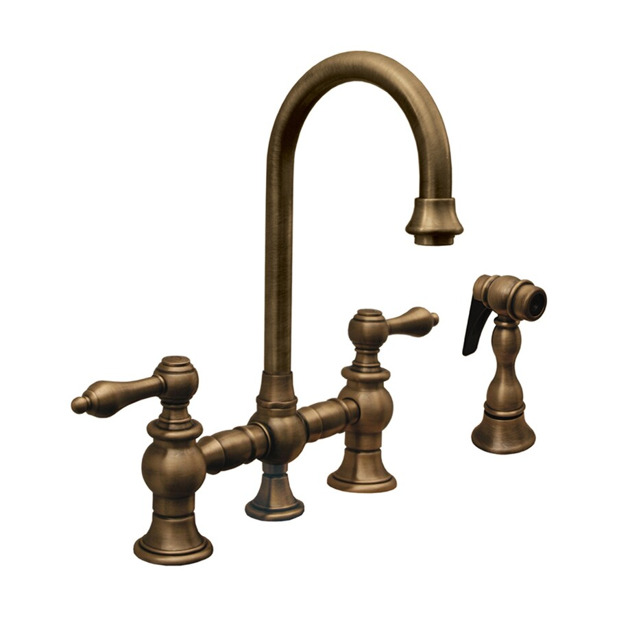 Whitehaus Collection Vintage III Antique copper 2-Handle Kitchen Faucet