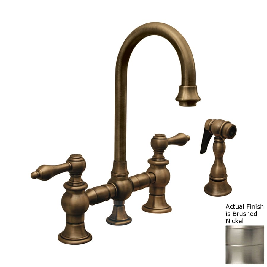 Whitehaus Collection Vintage III Brushed Nickel 2-handle Deck Mount High-Arc Bar And Prep Faucet