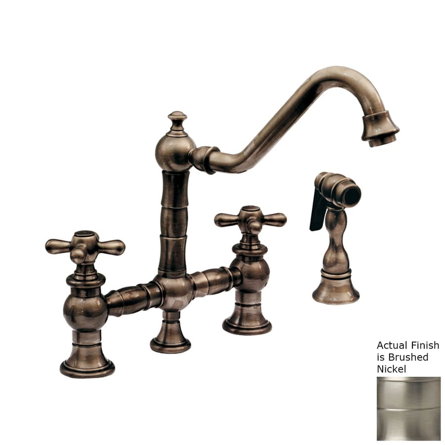 Whitehaus Collection Vintage III Brushed Nickel 2-Handle High-Arc Kitchen Faucet
