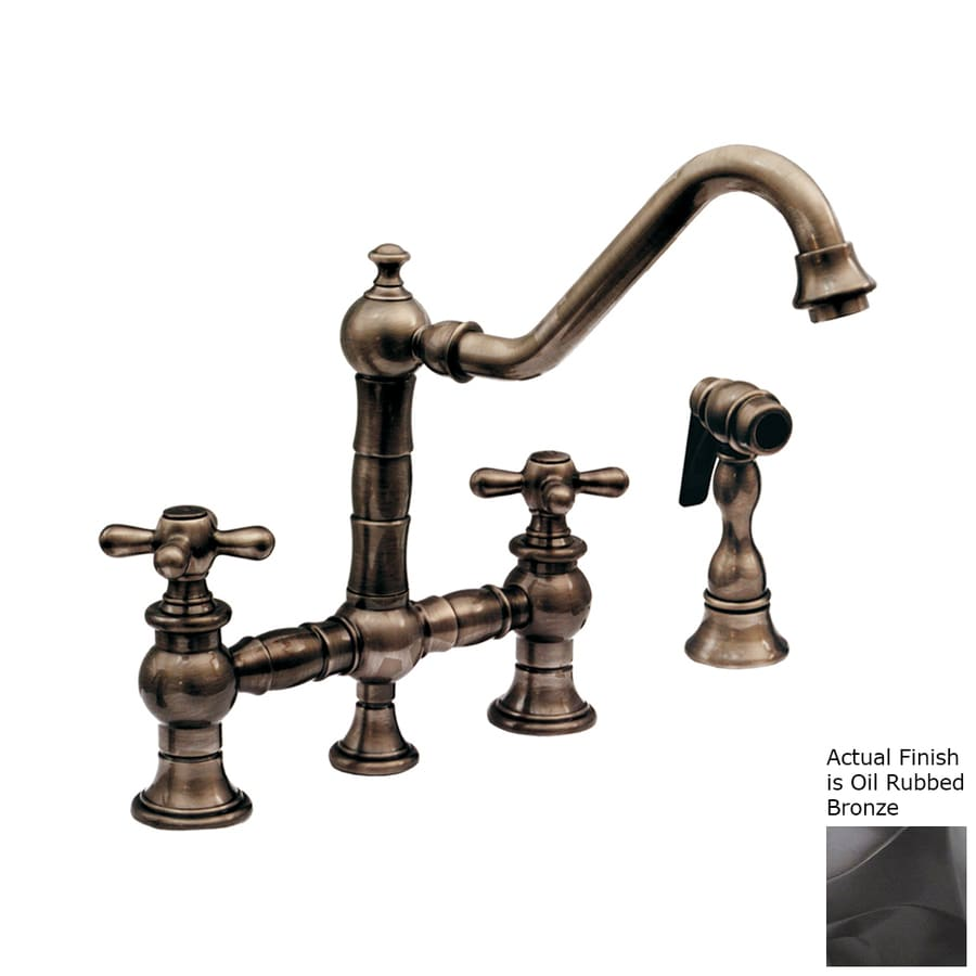 Whitehaus Collection Vintage III Oil Rubbed Bronze 2-handle Deck Mount High-Arc Kitchen Faucet