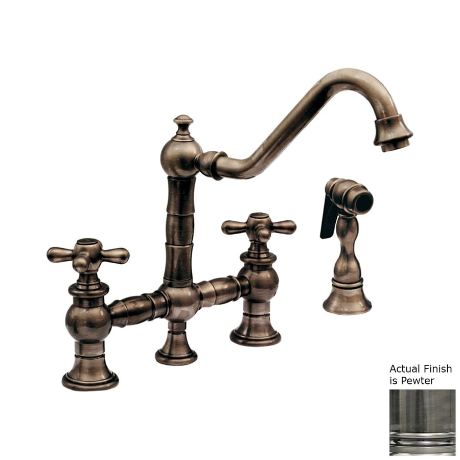 Whitehaus Collection Vintage III Pewter 2-Handle Low-Arc Kitchen Faucet with Side Spray