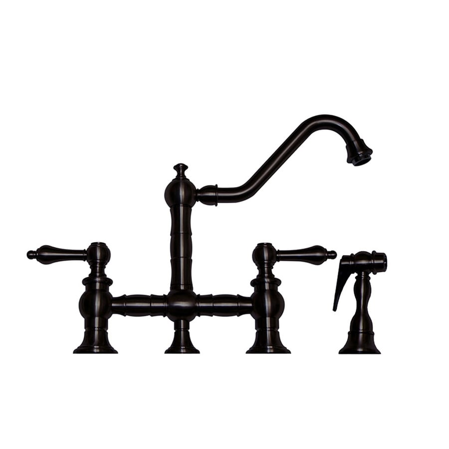 Whitehaus Collection Vintage III Oil Rubbed Bronze 2-Handle Low-Arc Kitchen Faucet with Side Spray