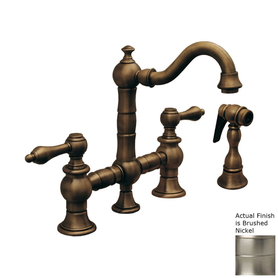 Whitehaus Collection Vintage III Brushed Nickel 2-Handle Bar Faucet with Side Spray
