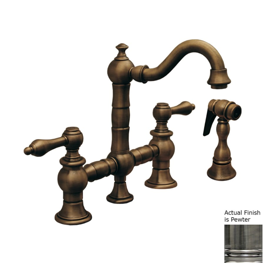 Whitehaus Collection Vintage III Pewter 2-handle Deck Mount High-Arc Bar And Prep Faucet