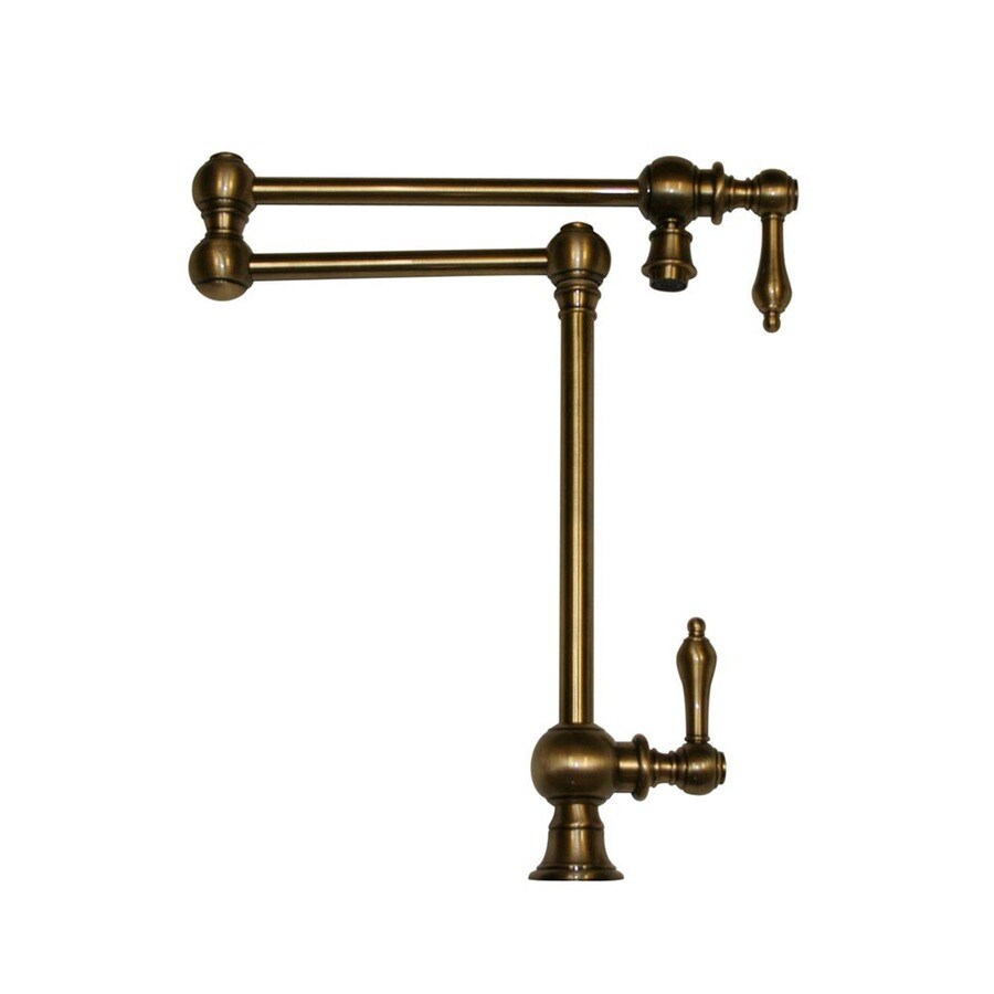 Whitehaus Collection Vintage III Antique Brass 2 Handle Deck Mount Pot  Filler Kitchen Faucet