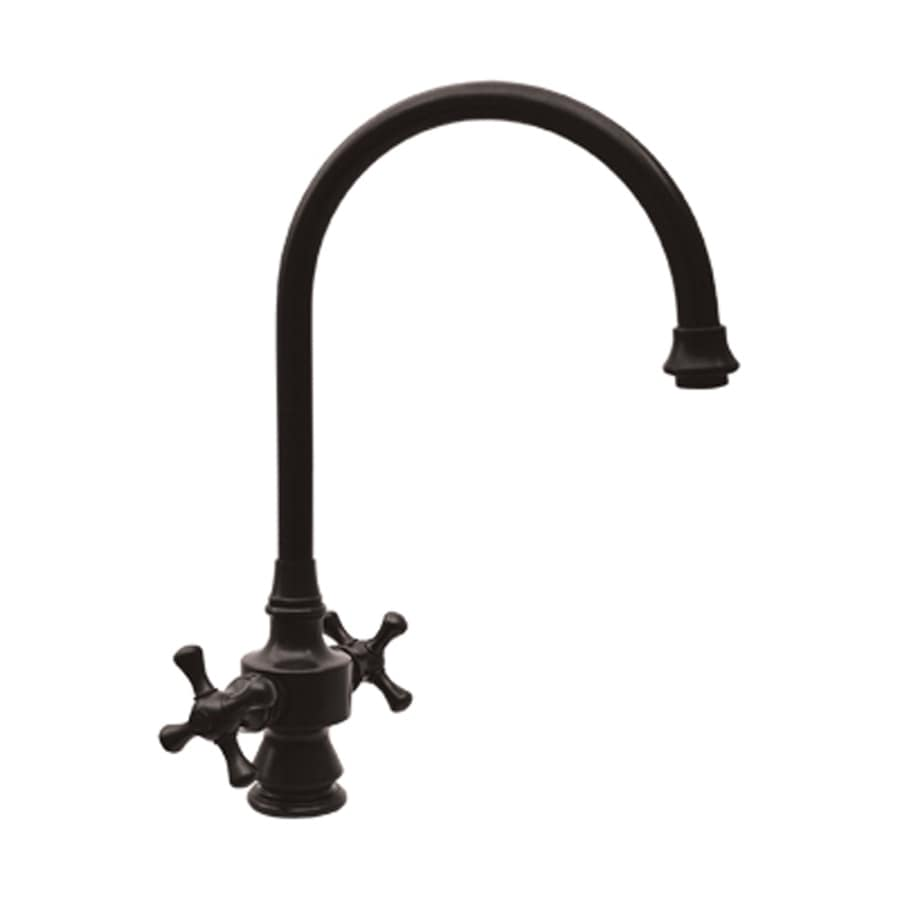Whitehaus Collection Vintage III Antique Brass 2-handle Deck Mount High-Arc Kitchen Faucet