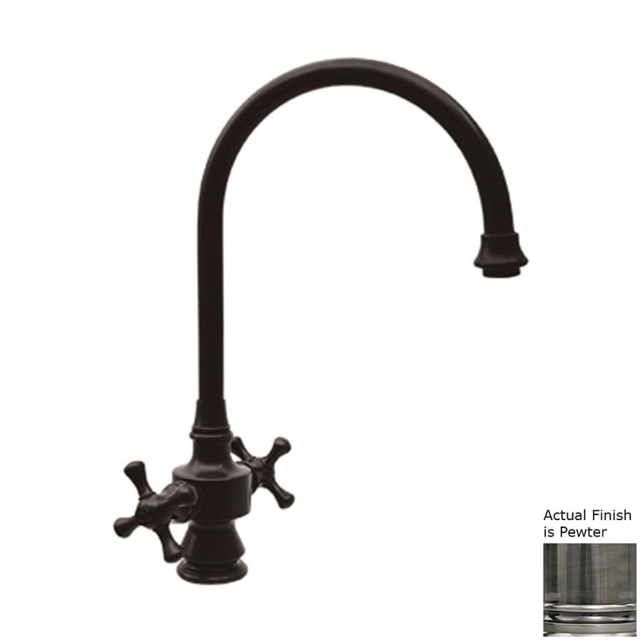 Whitehaus Collection Vintage III Pewter 2-handle Deck Mount High-Arc Kitchen Faucet