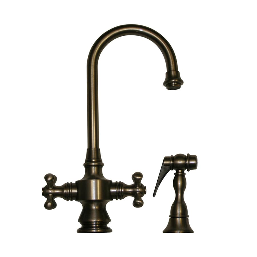 Shop Whitehaus Collection Vintage Iii Pewter 2 Handle Deck Mount High Arc Bar And Prep Faucet At