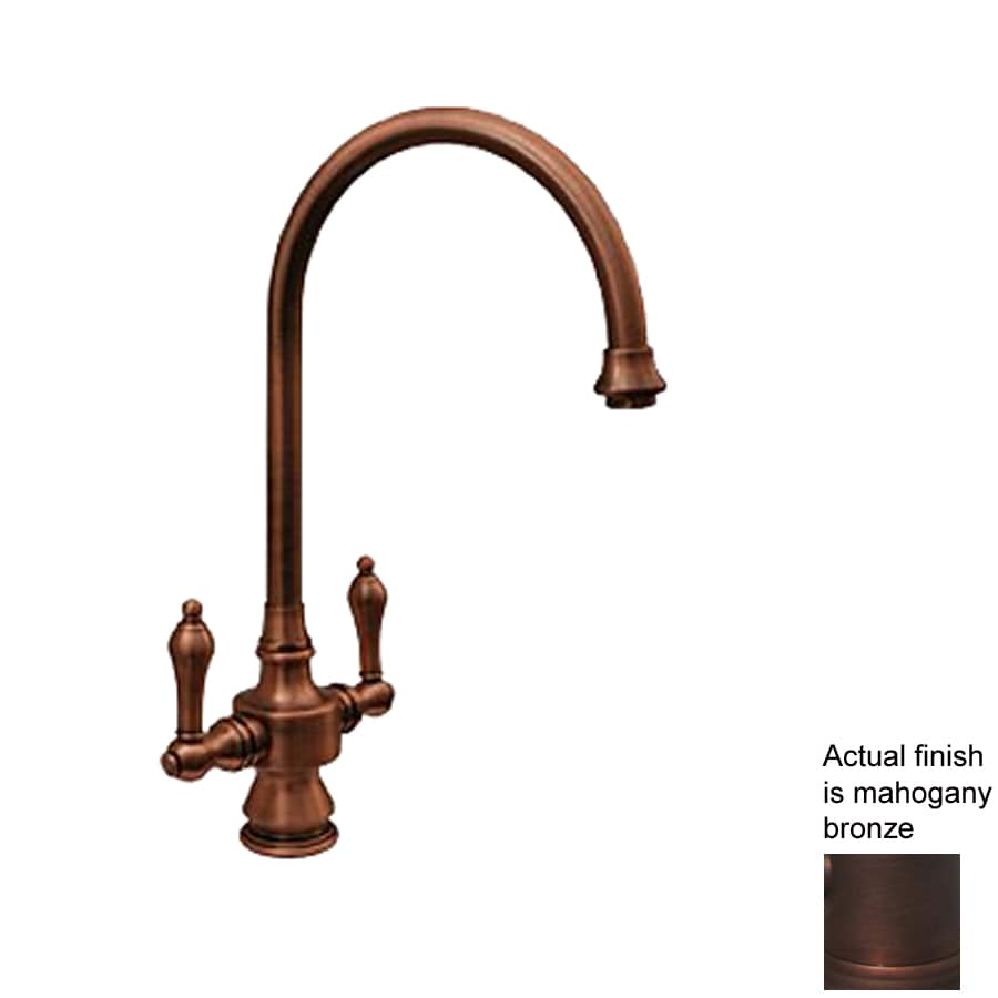 Whitehaus Collection Vintage III Mahogany Bronze 2-Handle High-Arc Kitchen Faucet with Side Spray