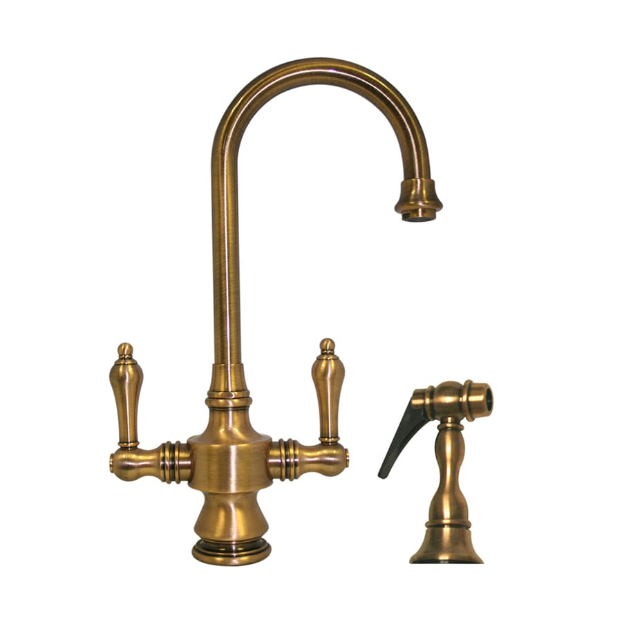 Whitehaus Collection Vintage III Antique Brass 2-handle Deck Mount High-Arc Bar And Prep Faucet