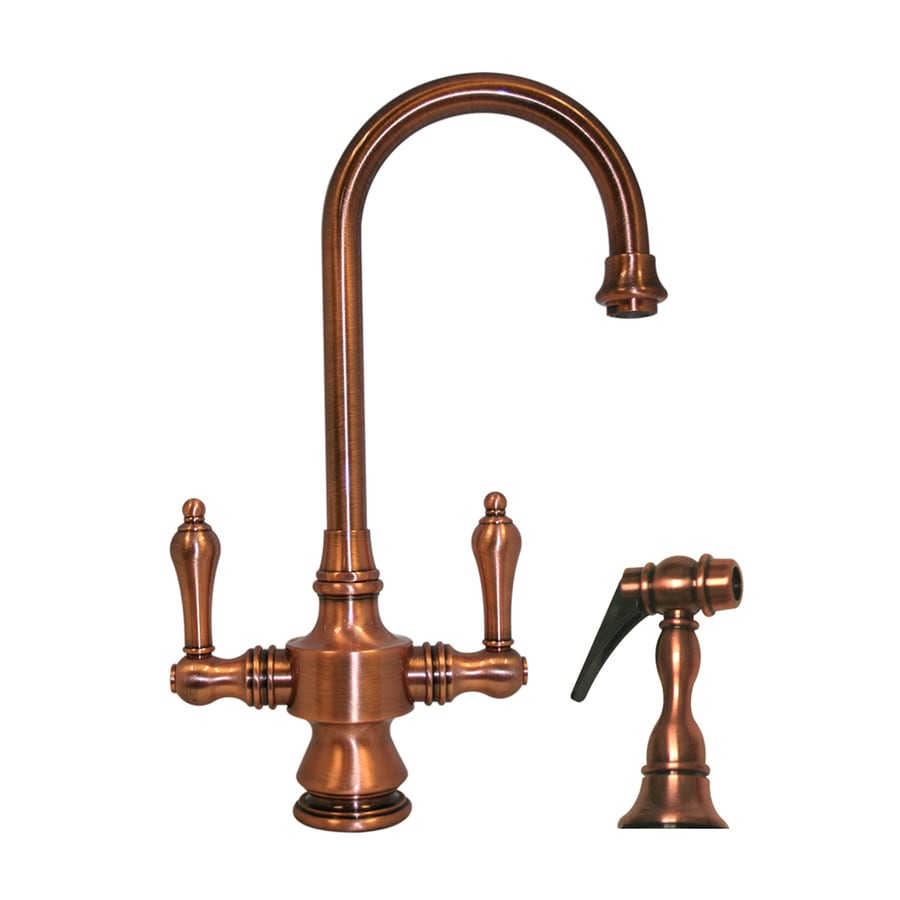 Whitehaus Collection Vintage III Antique Copper 2-Handle Bar Faucet with Side Spray
