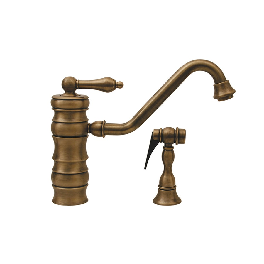 Whitehaus Collection Vintage III Antique Brass 1-Handle Low-Arc Kitchen Faucet with Side Spray