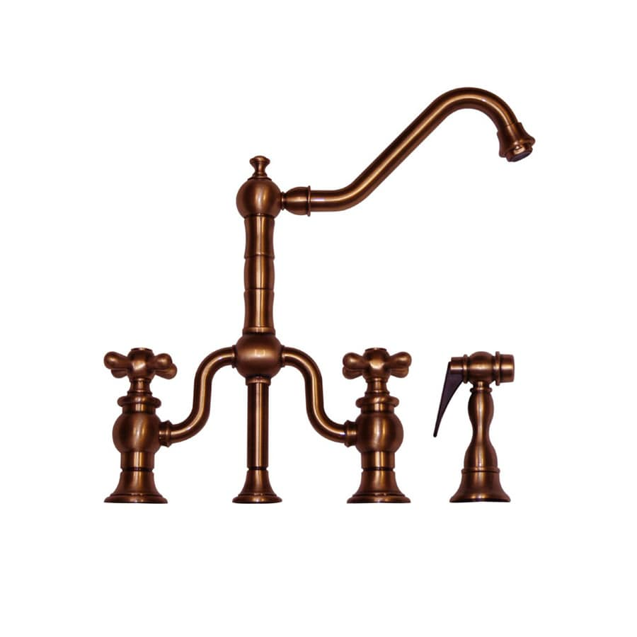 Whitehaus Collection Twisthaus Antique Copper 2-handle Deck Mount High-Arc Kitchen Faucet