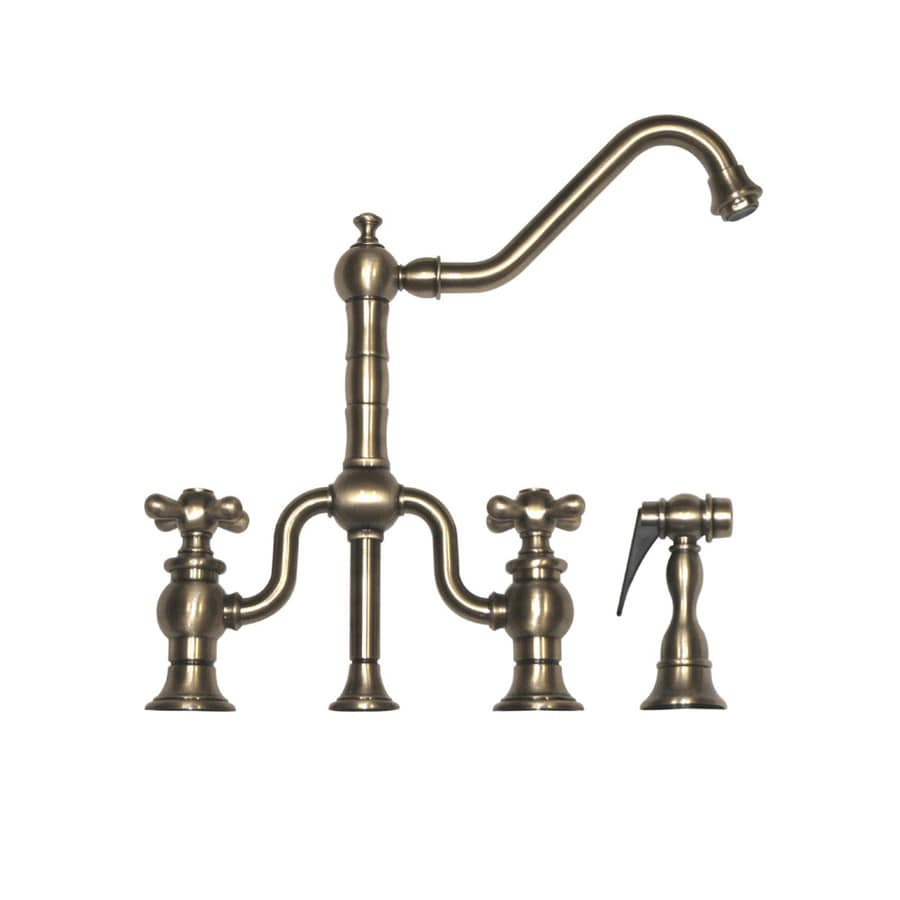 Whitehaus Collection Twisthaus Brushed Nickel 2-handle Deck Mount High-Arc Kitchen Faucet