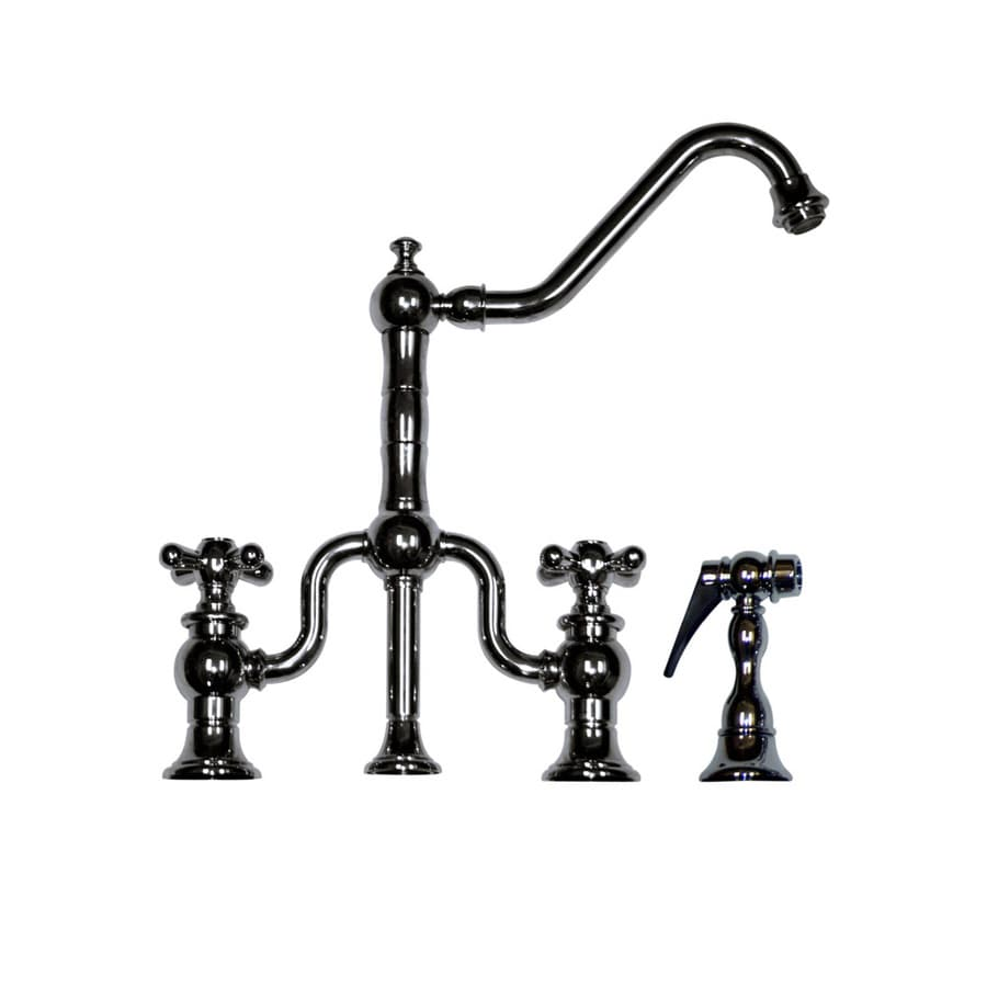 Whitehaus Collection Twisthaus Polished Chrome 2-Handle Low-Arc Kitchen Faucet with Side Spray