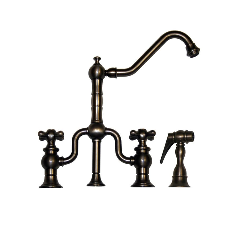 Whitehaus Collection Twisthaus Pewter 2-Handle Low-Arc Kitchen Faucet with Side Spray
