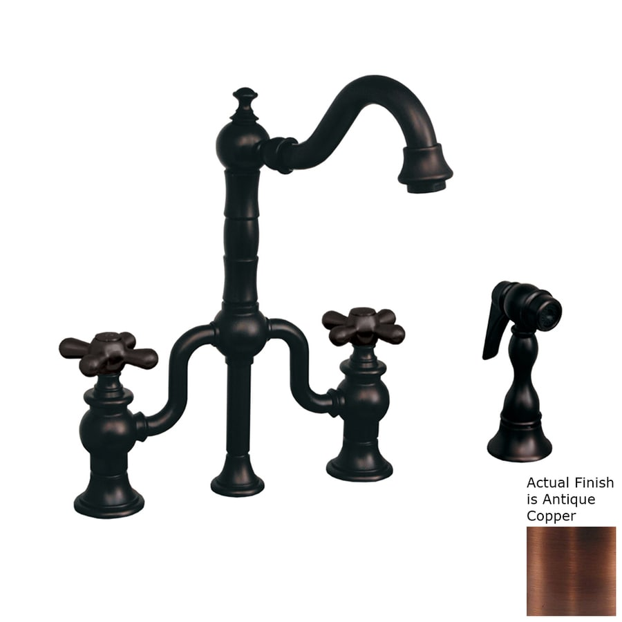 Whitehaus Collection Twisthaus Antique Copper 2-handle Deck Mount High-Arc Bar And Prep Faucet