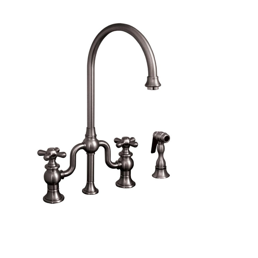 Whitehaus Collection Twisthaus Brushed Nickel 2-Handle Low-Arc Kitchen Faucet with Side Spray