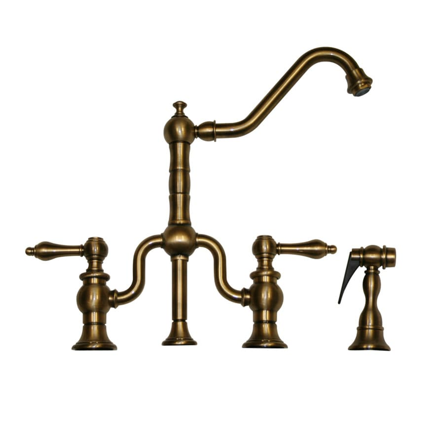 Whitehaus Collection Twisthaus Antique Brass 2 Handle Deck Mount High Arc Kitchen  Faucet