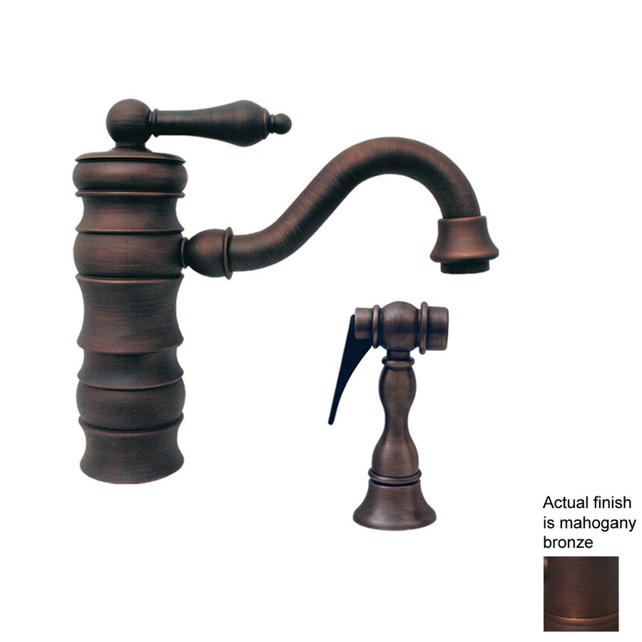Whitehaus Collection Vintage III Mahogany Bronze 1-Handle Bar Faucet with Side Spray