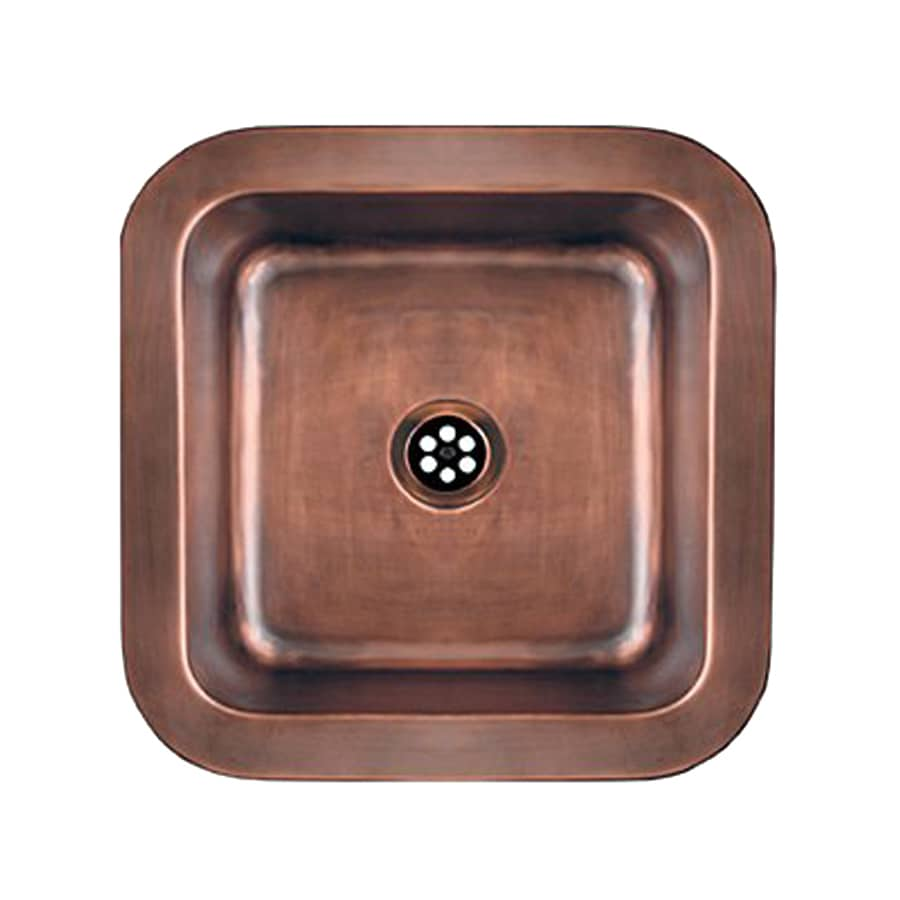 Whitehaus Collection Copperhaus Hammered Bronze Copper Drop-In Square Bathroom Sink