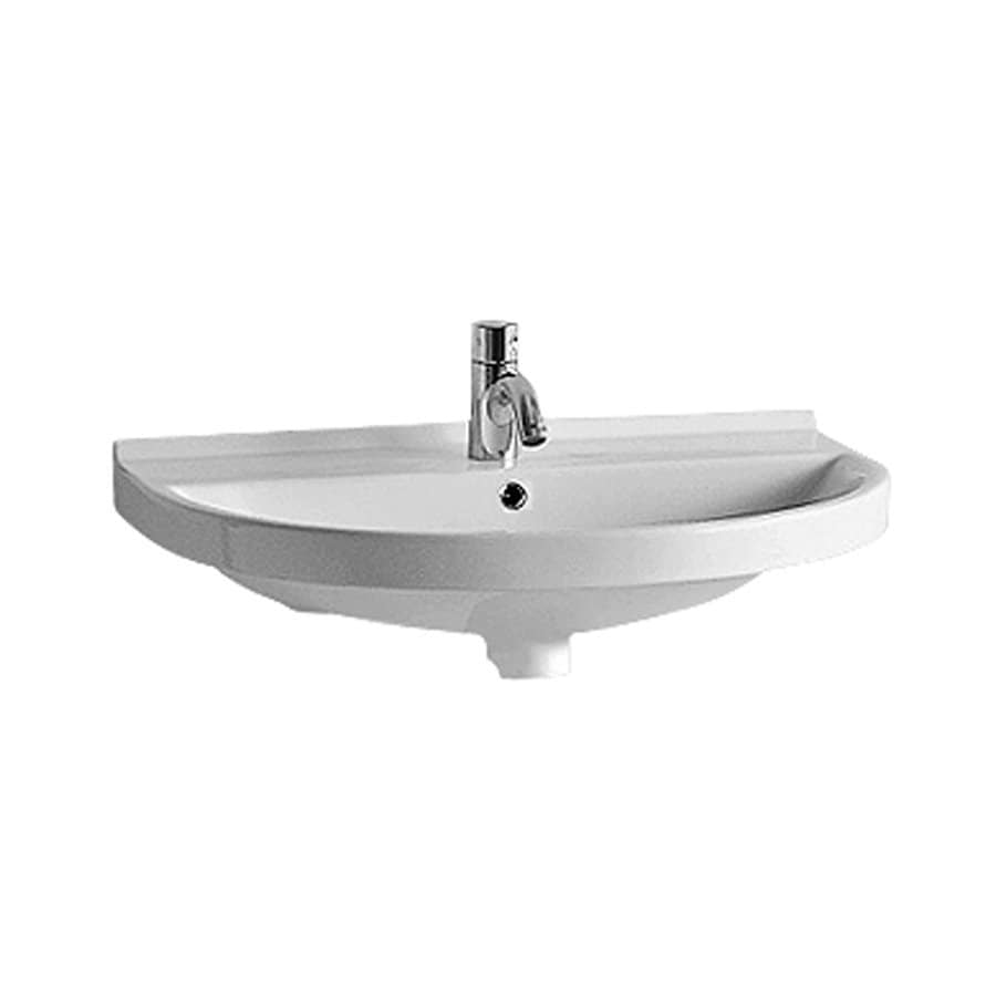 Whitehaus Collection China Series White Wall-Mount Semi-Circle Bathroom Sink Overflow