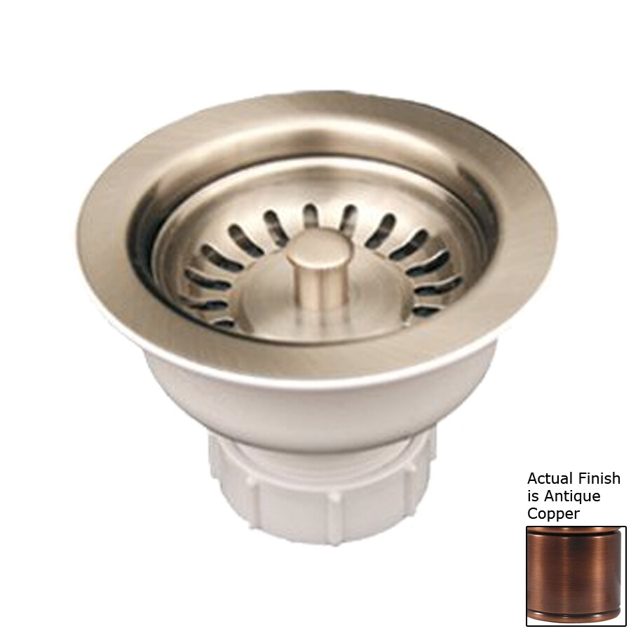 Whitehaus Collection Farmhaus Fireclay 4.375-in Antique Copper Brass Fixed Post Kitchen Sink Strainer