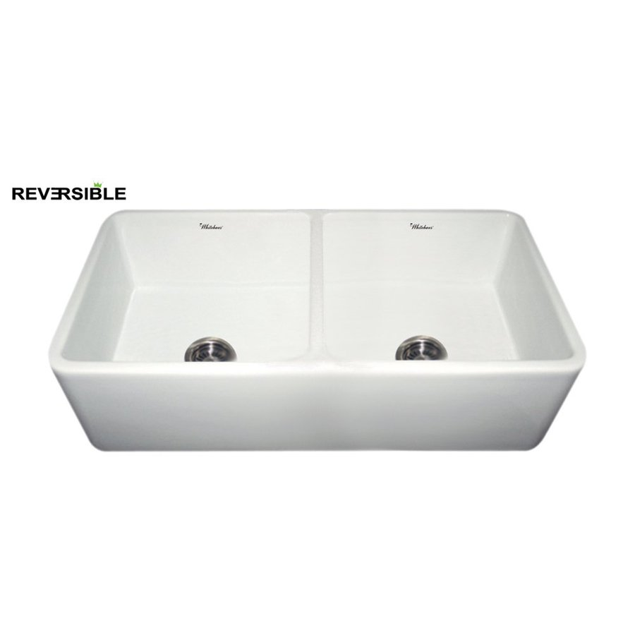 Whitehaus Collection Farmhaus 18.5-in x 36.75-in White Double-Basin Fireclay Apron Front/Farmhouse Kitchen Sink