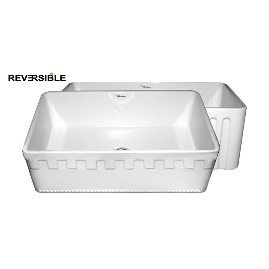 Whitehaus Collection Farmhaus 18-in x 30-in White Single-Basin Fireclay Apron Front/Farmhouse Kitchen Sink