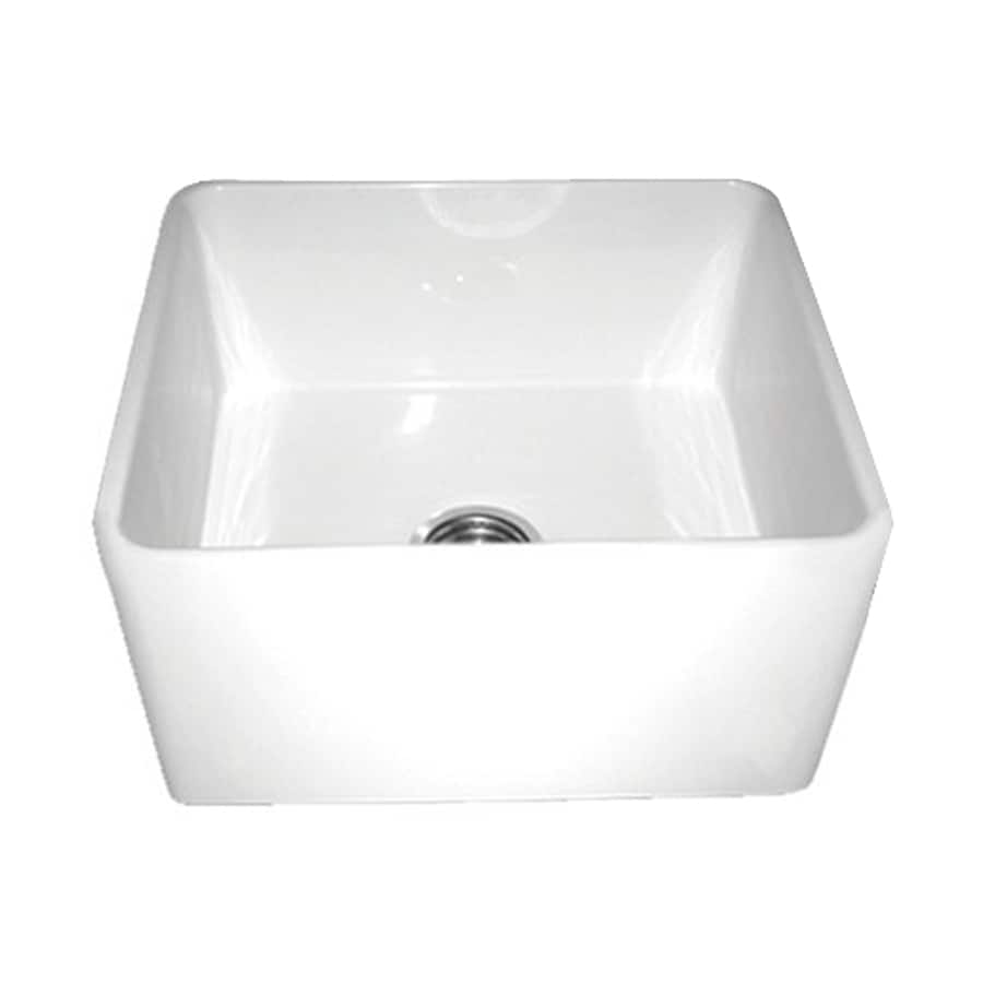 Whitehaus Collection Farmhaus Fireclay 18-in x 20-in White Single-Basin-Basin Fireclay Apron Front/Farmhouse (Customizable)-Hole Residential Kitchen Sink