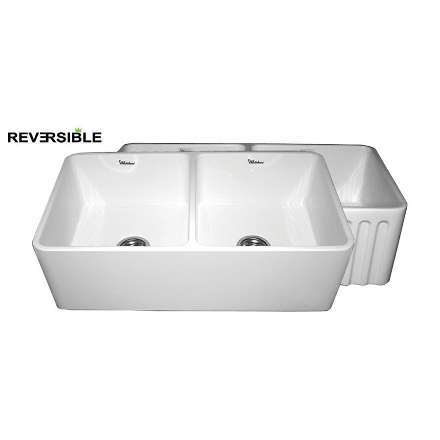 Whitehaus Collection Farmhaus 18-in x 33-in White Double-Basin Fireclay Apron Front/Farmhouse Kitchen Sink