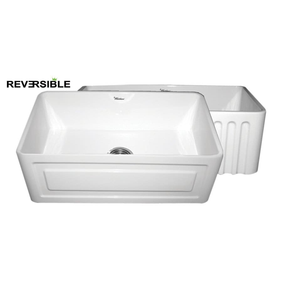 Whitehaus Collection Farmhaus 18-in x 30-in White Single-Basin Fireclay Apron Front/Farmhouse Kitchen Sink