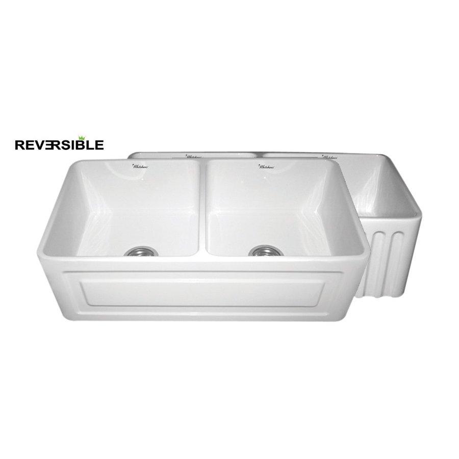 Whitehaus Collection Farmhaus 18-in x 33-in White Double-Basin Fireclay Apron Front/Farmhouse Kitchen Sink