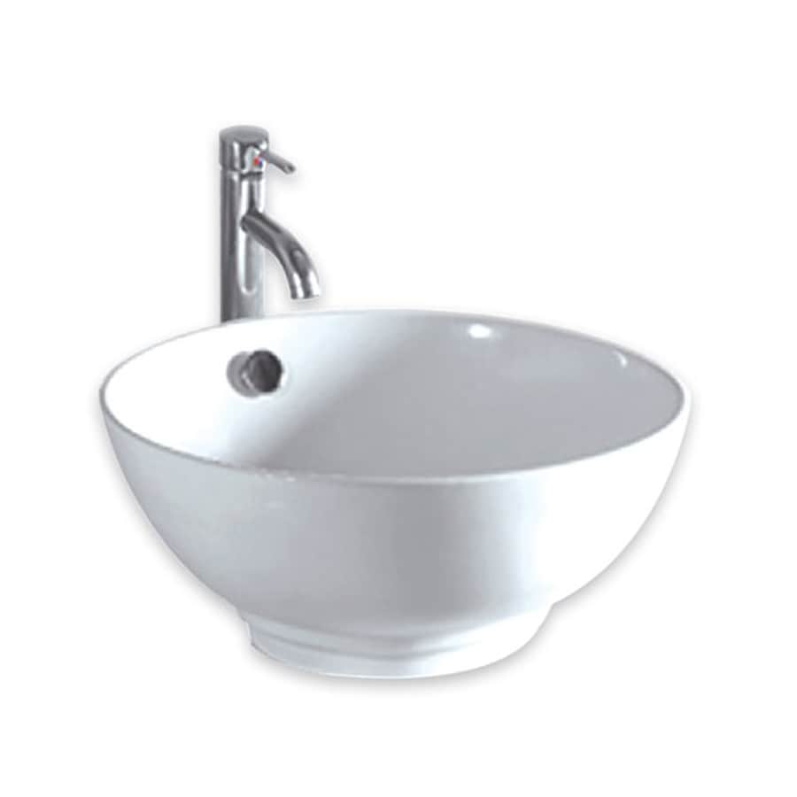Whitehaus Collection Isabella White Round Vessel Bathroom Sink Overflow  Drain