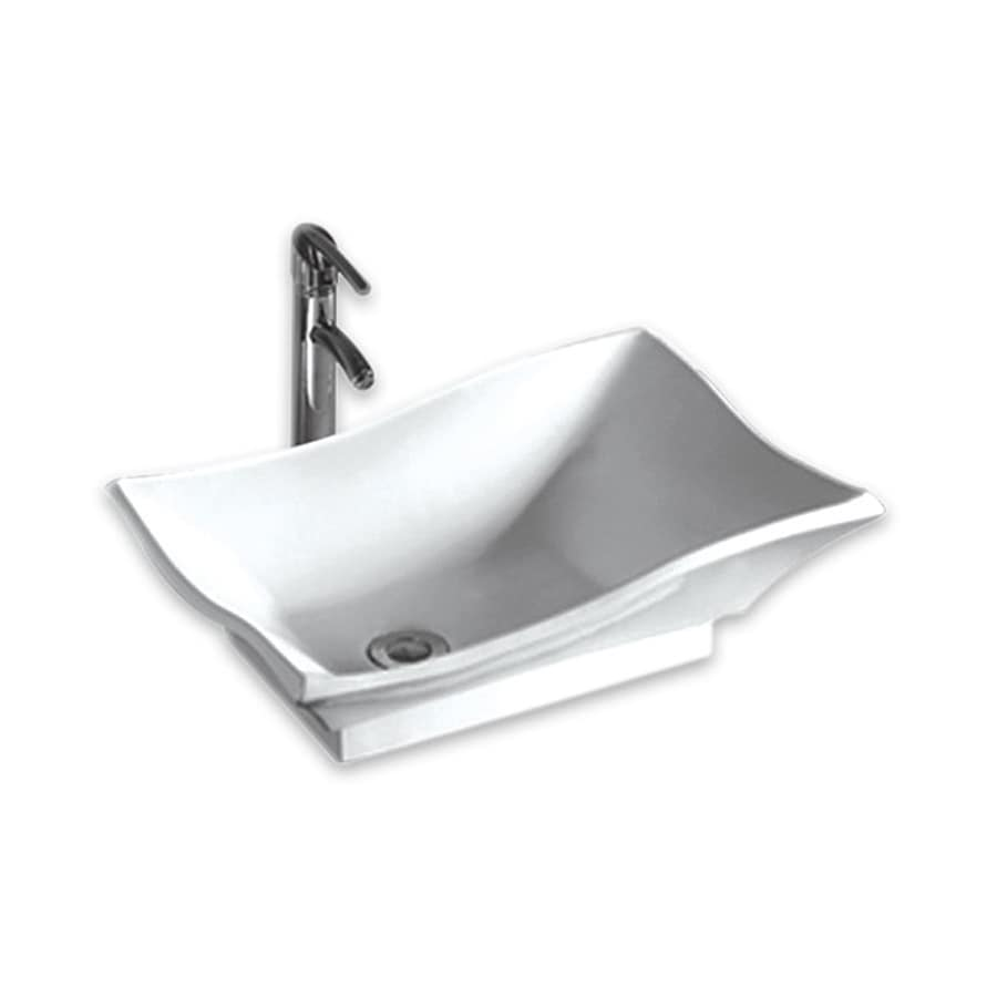 Whitehaus Collection Isabella White Rectangular Vessel Bathroom Sink
