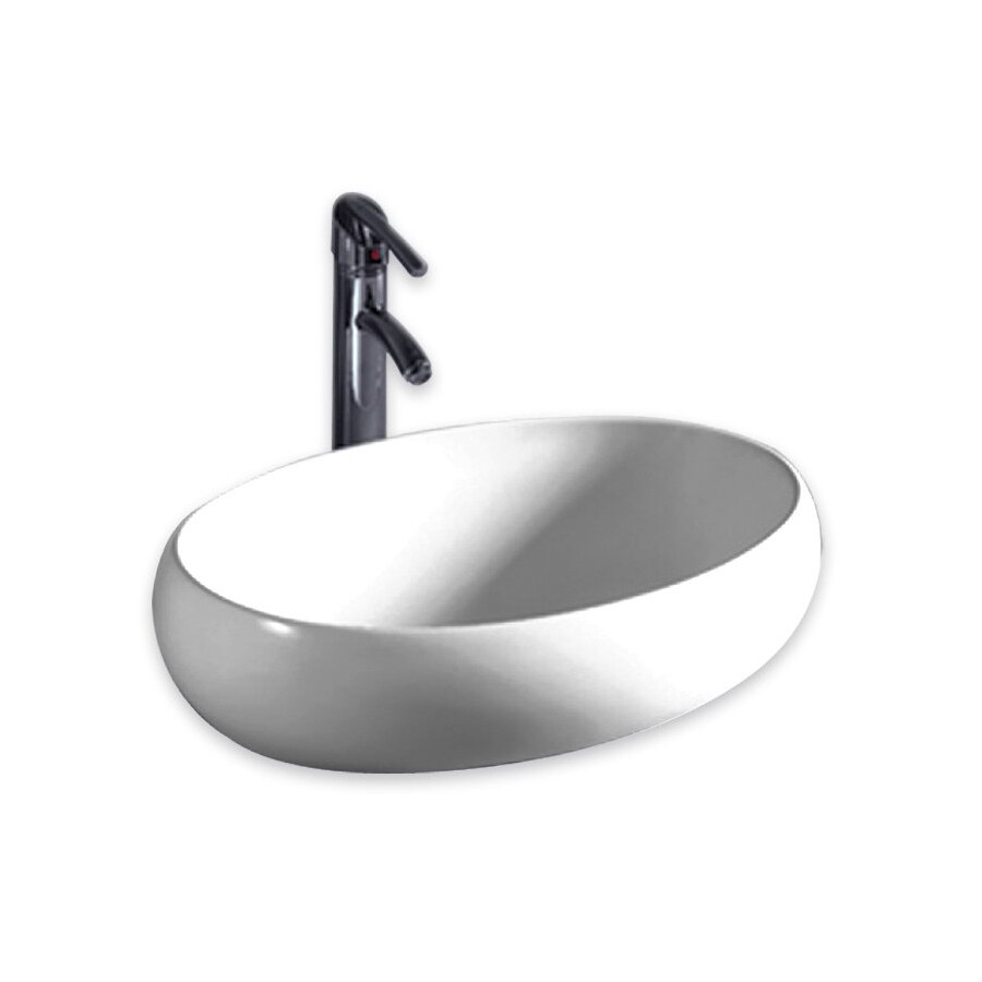 Whitehaus Collection Isabella White Vessel Oval Bathroom Sink
