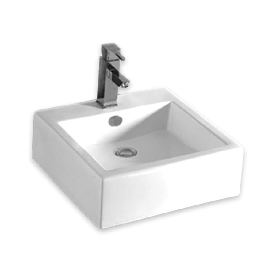 ... White Wall-Mount Square Bathroom Sink with Overflow at Lowes.com