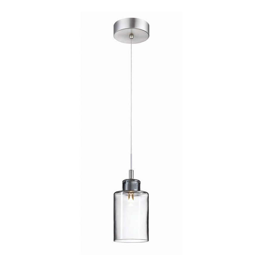 Philips Harmonize 4-in Satin Nickel Mini Clear Glass Jar Pendant