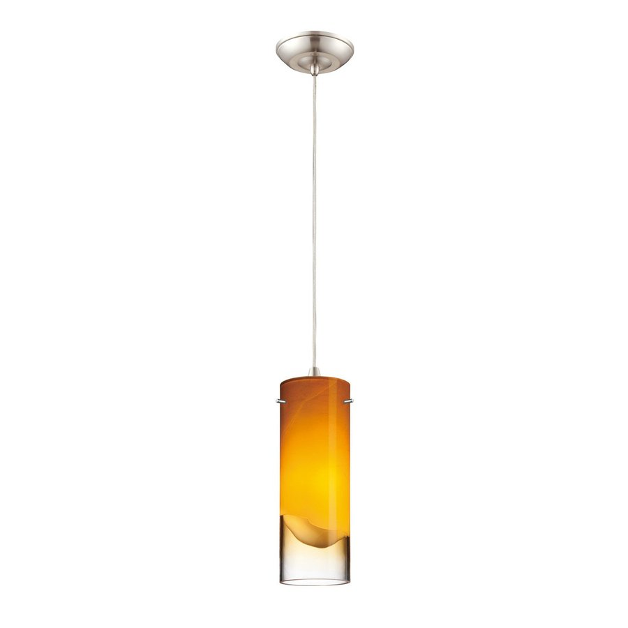 Philips Crete 3.63-in Satin Nickel Mini Tinted Glass Cylinder Pendant