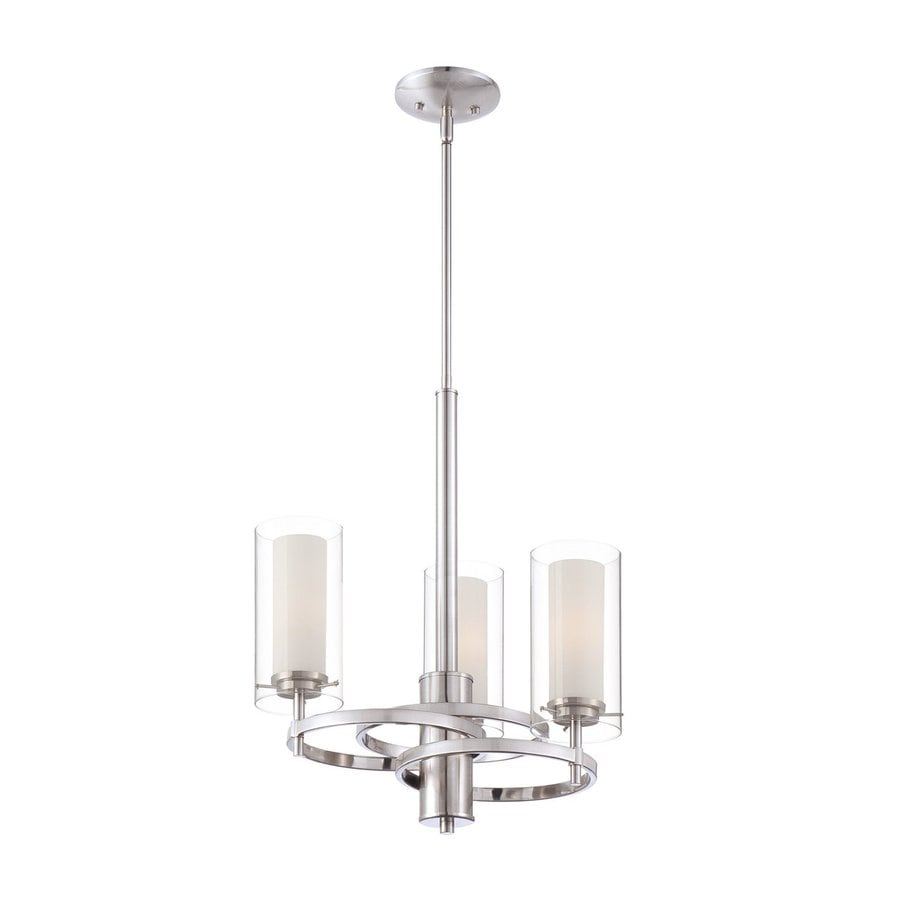 Philips Hula 18-in 3-Light Satin Nickel Clear Glass Shaded Chandelier