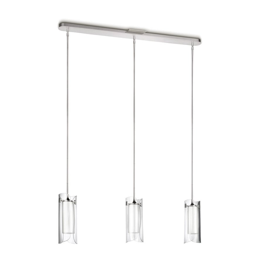 Philips Scales 48.2-in Brushed Nickel Multi-Light Clear Glass Cylinder Pendant
