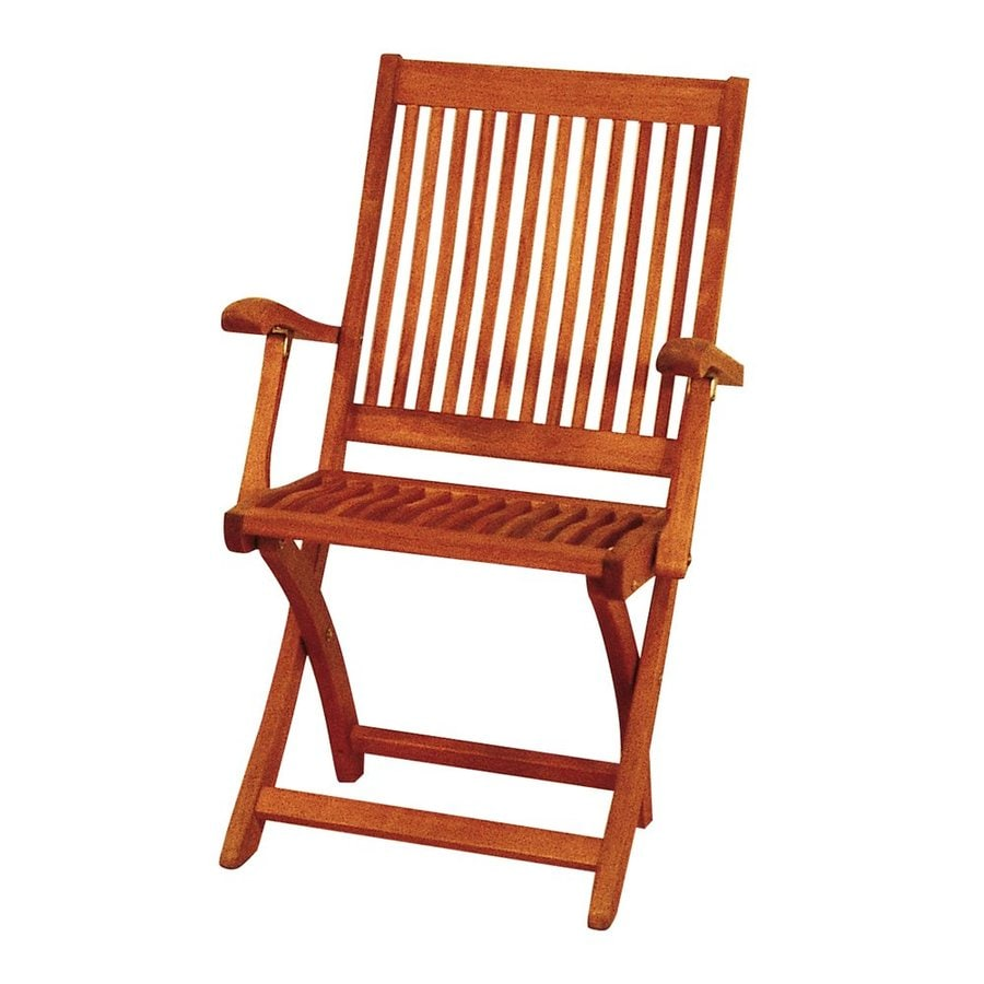 ACHLA Designs Natural Oiled Eucalyptus Folding Patio Conversation Chair