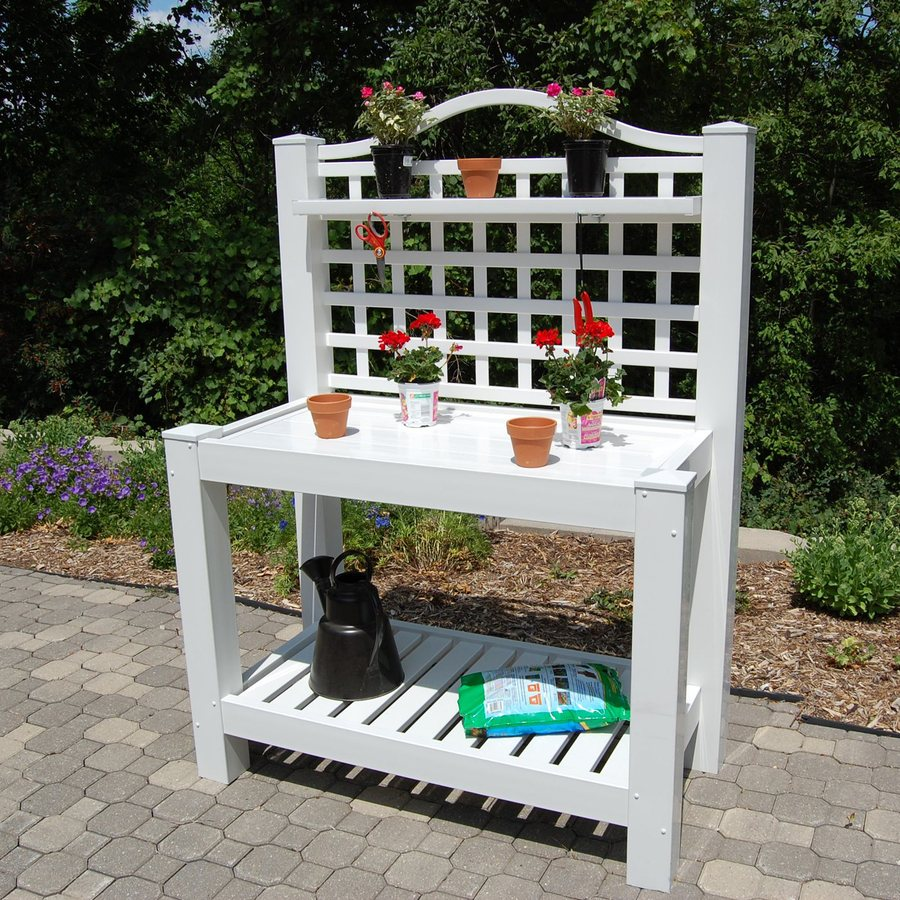 Dura-Trel 43-in x 22-in White Potting Bench