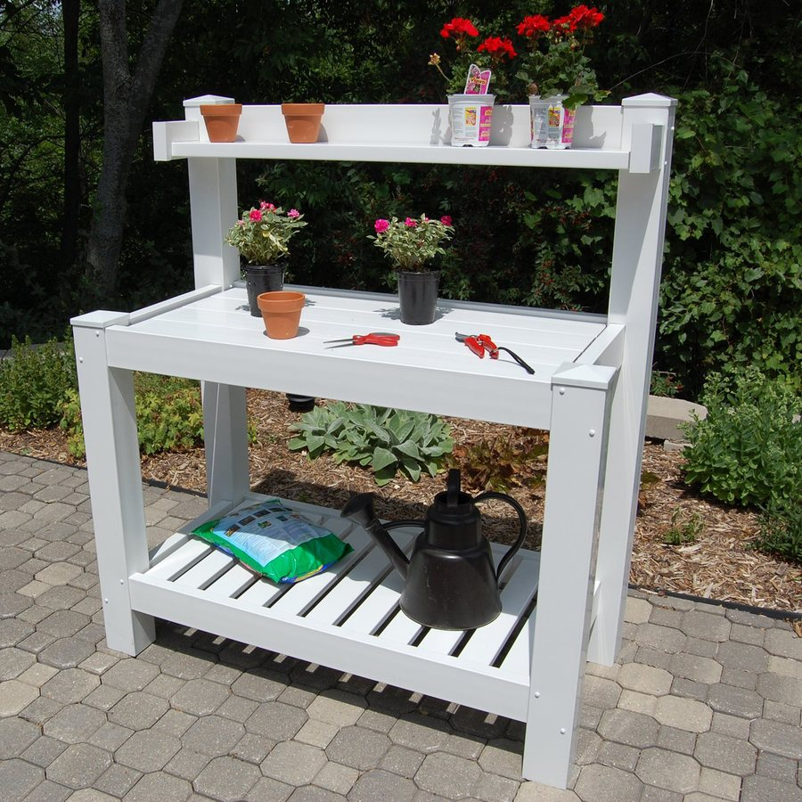 Dura-Trel Hillcrest 52-in x 59-in x 26-in White Potting Bench