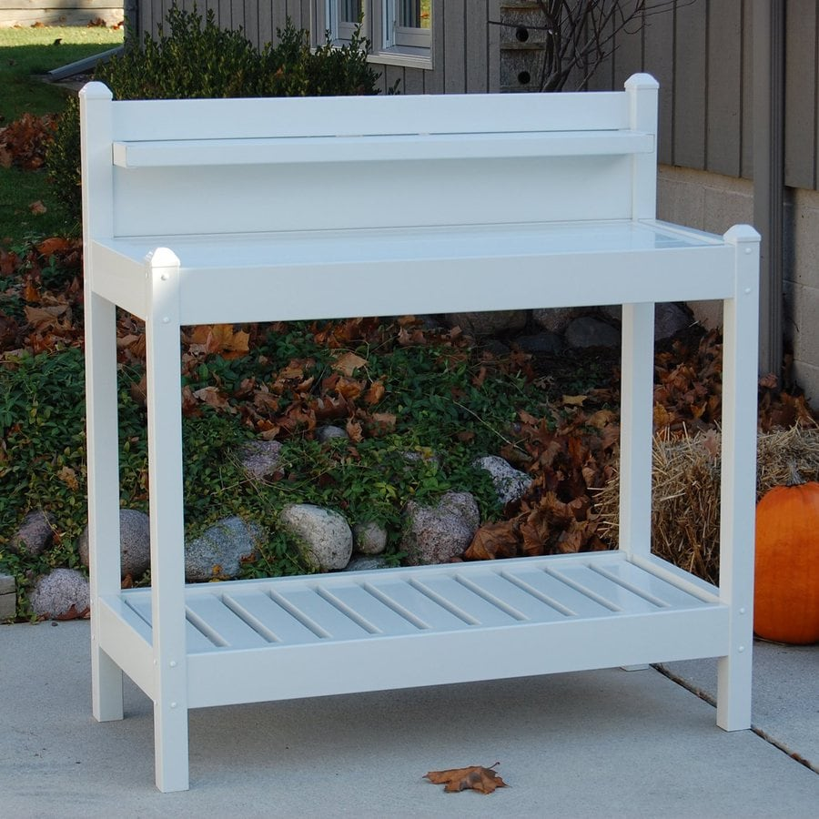 Shop dura trel 43 in x 49 in x 22 in white potting bench at Lowes garden bench