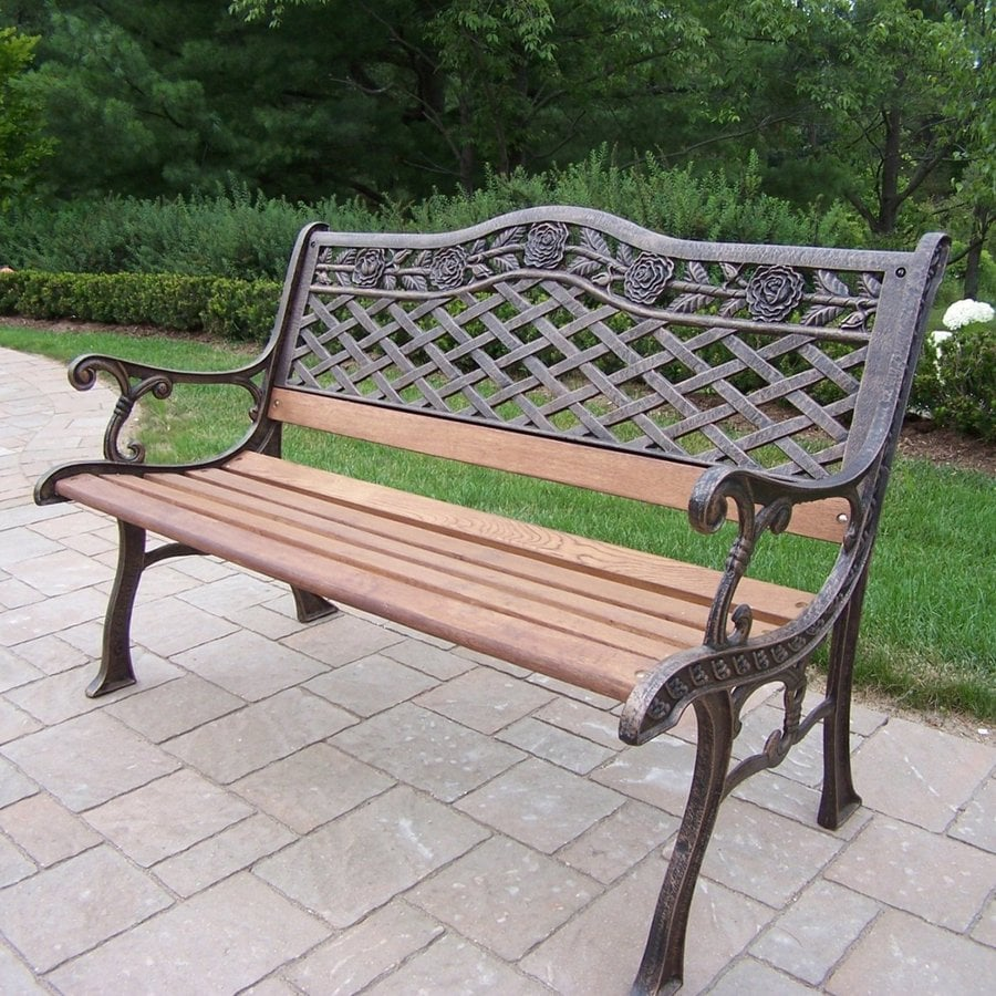 Oakland Living Tea Rose 25-in W x 50-in L Antique Bronze Patio Bench
