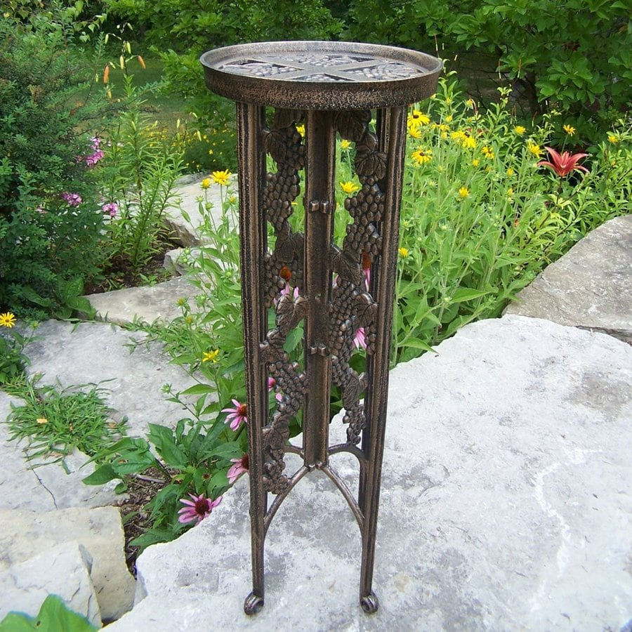 Oakland Living Vineyards 31-in Antique Bronze Round Cast Iron Plant Stand