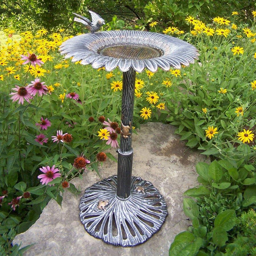 Oakland Living Sunflower 30.25-in H 1-Tier Round Cast Iron Birdbath