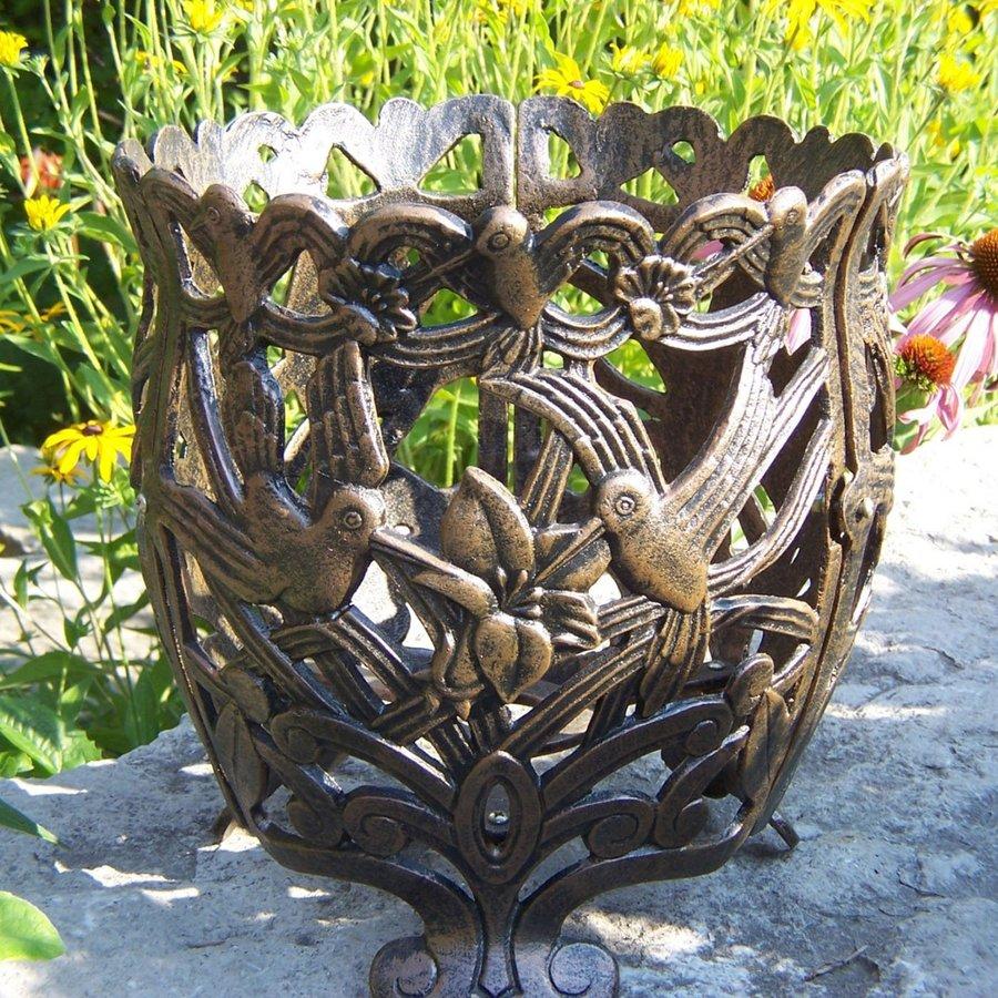 Oakland Living 12.5-in x 12.5-in Antique Bronze Metal Hummingbird Urn