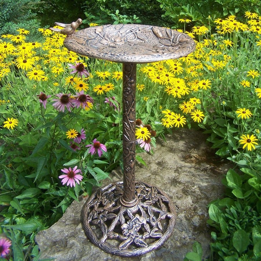 Oakland Living Hummingbird 32-in H 1-Tier Round Cast Iron Birdbath